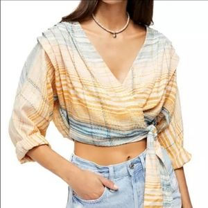 NWT Free People Yellow & Blue Wrap Crop Top